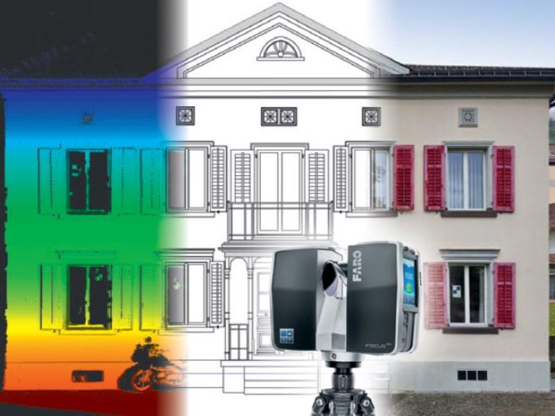 Vermesung und Geomatik: Gebäudeaufnahme mittels 3D-Laserscanning: Punktwolke, Modell, Foto